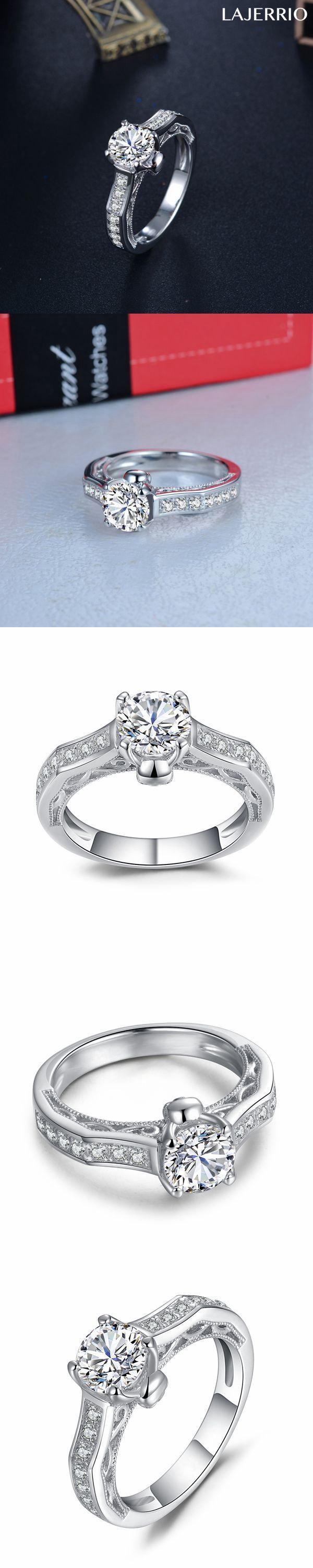 Lajerrio Jewelry Round Cut White Sapphire Sterling Silver Skull Engagement Ring
