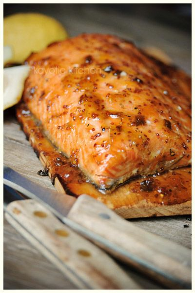 bbq cedar plank salmon! with apricot preserves, mustard and jalapeno!