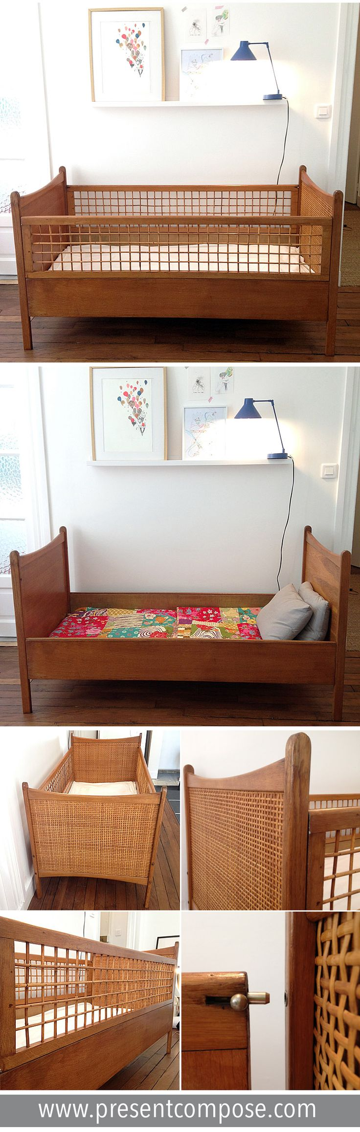 great lit bb en bois osier et cannage evolutif en lit ado cm with lit compact ado. Black Bedroom Furniture Sets. Home Design Ideas