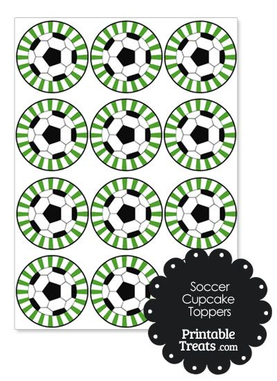 Green Sunburst Soccer Cupcake Toppers from PrintableTreats.com