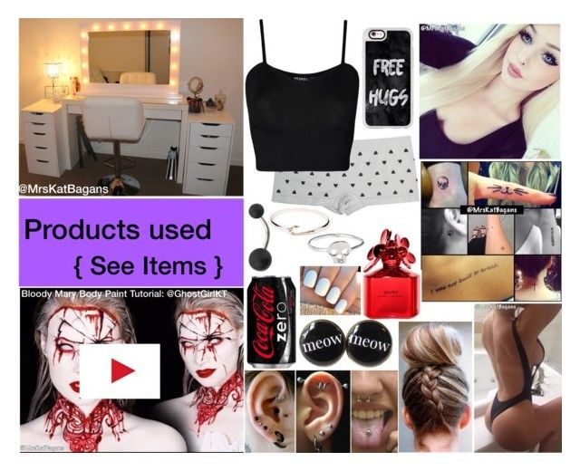 """""""👻 Bloody Mary Body Paint YouTube Tutorial 👻"""" by mrskatbagans ❤ liked on Polyvore featuring Graftobian, NYX, Urban Decay, Beauty Is Life, Inglot, Mehron, Wet Seal, WearAll, Casetify and Target"""