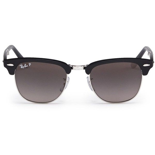 Ray-Ban 'Clubmaster Folding' browline sunglasses (£235) ❤ liked on Polyvore featuring accessories, eyewear, sunglasses, glasses, lentes, jewelry, black, ray ban eyewear, folding sunglasses and ray ban glasses