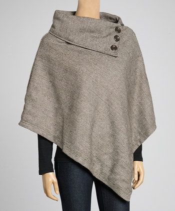 Black & White Herringbone Poncho | Daily deals for moms, babies and kids
