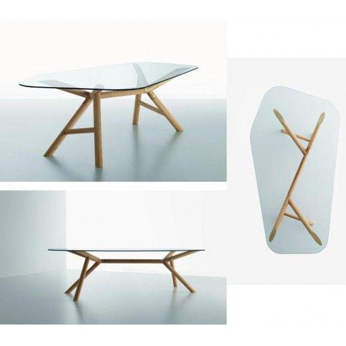 Otto tavolo sagomato in vetro e legno di Miniforms