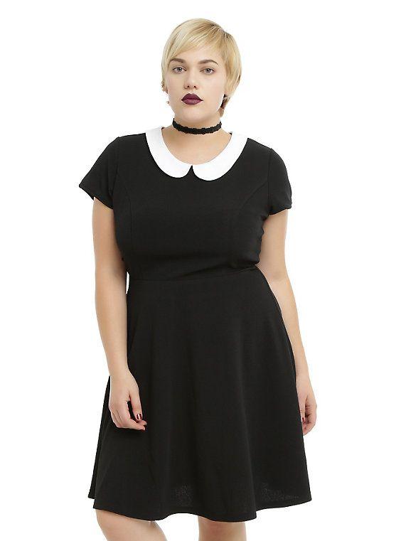 Black Textured White Collar Dress Plus Size, BLACK