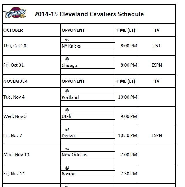 Cleveland Cavaliers Schedule 2014-15