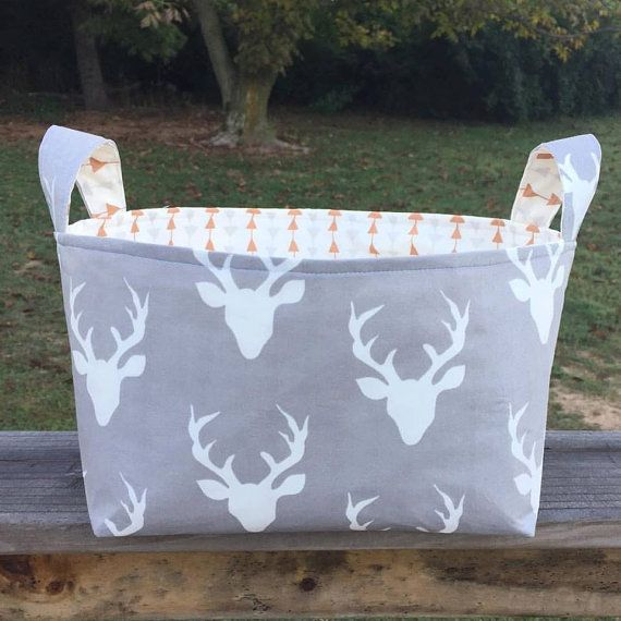 Fabric Basket Deer Antlers Woodland Theme Buck by WatchMyDive