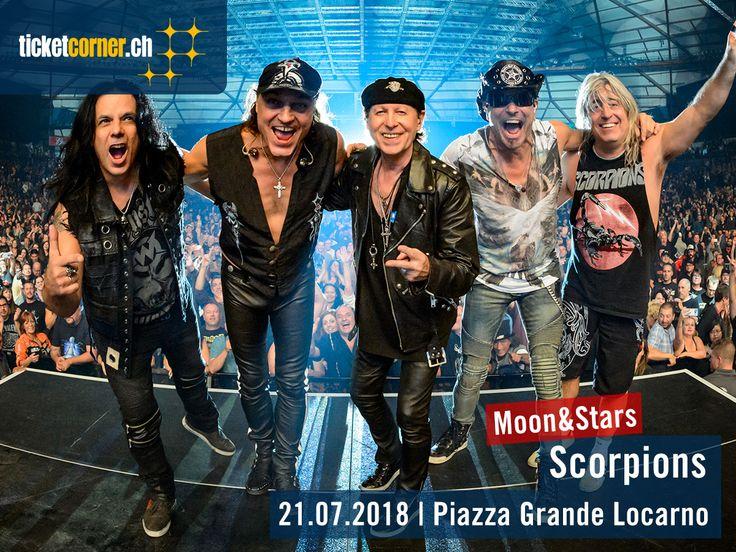 Am 21. Juli 2018 wird es rockig auf der Piazza Grande: Die Scorpions werden am Moon&Stars ihre grössten Hits präsentieren – und das sind so einige: «Rock You Like A Hurricane», «Wind Of Change» oder «Still Loving You» sind nur ein paar davon. Tickets für die fünf Hannoveraner sind ab sofort erhältlich: http://www.ticketcorner.ch/moon-stars