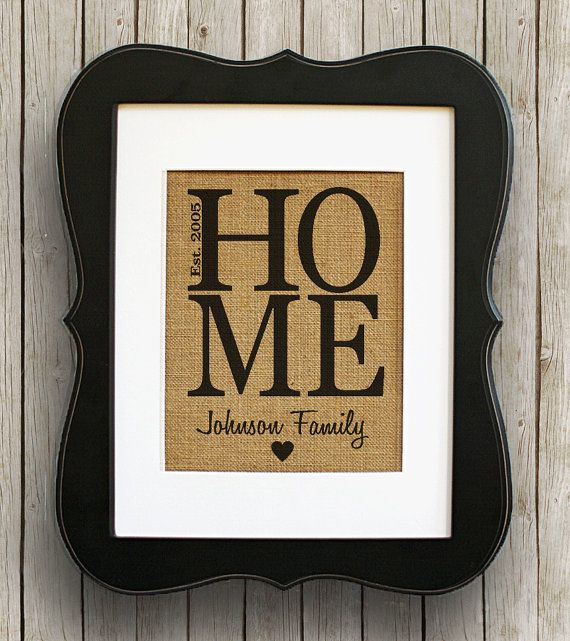 Home Family Personalized Burlap Wall Decor - Housewarming Wedding Gift Idea