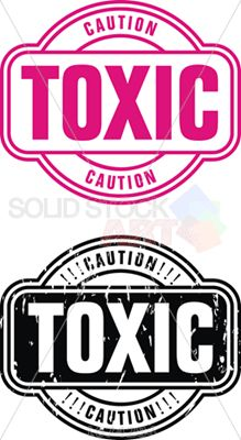 Vector pink and black stamps caution toxic on white vertical panoramic