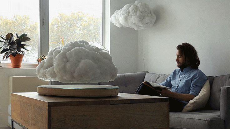 Floating, haut-parleur intégré dans un nuage en lévitation par Richard Clarkson et Crealev