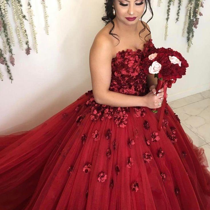 lovely sweetheart neckline  maroon tulle flower wedding dresses 2018