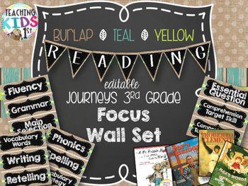{BURLAP, TEAL, YELLOW, CHALKBOARD} Journeys... by Teaching Kids 1st   Teachers Pay Teachers