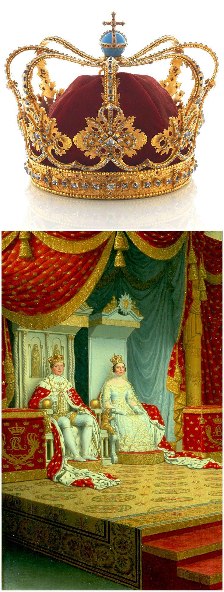 Above: Crown, worn by Danish queens from 1731 to 1840. Rosenborg Castle (link: http://www.kongernessamling.dk/rosenborg/object/dronningens-krone/). Below: Painting depicting Christian VIII and Caroline Amalie's coronation and anointing, June 28, 1840, by Christoffer Wilhelm Eckersberg, 1840. National History Museum, Frederiksborg Castle, via Wikimedia Commons (link: https://commons.wikimedia.org/wiki/File:Christian_VIIIs_salving_by_Eckersberg.jpg).