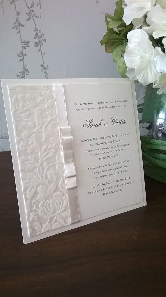 Handmade Personalised White Flocked Luxury Wedding Invitation