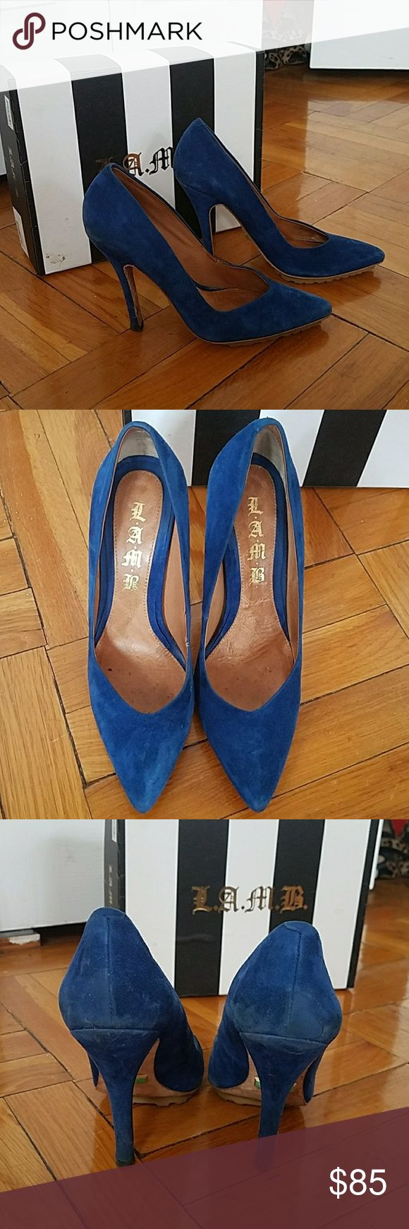 Get you blue suede shoes!   Blue suede pump Lamb blue suede pump with lug sole. These pumps are sexy and the lug sole makes them so comfortable and no slipping. Good condition lamb Shoes Heels