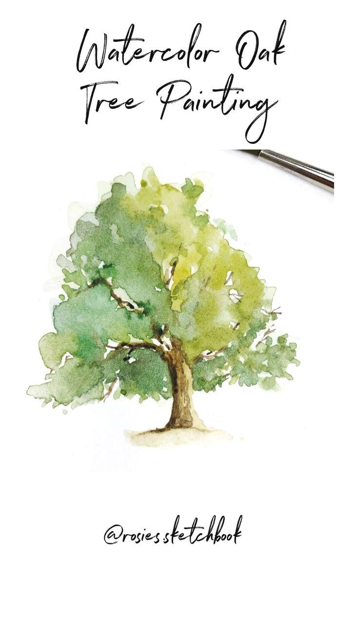 Watercolor Oak Tree Painting