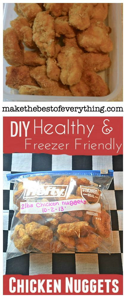 Homemade Healthy Chicken Nuggets.  Make a Big Batch and Freeze.  Microwave them when you want to eat them.  They're so good, they wont last long.