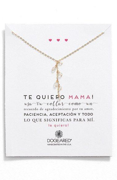 Dogeared 'Te Quiero Mama' Beaded Y-Necklace