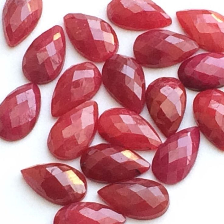 Gorgeous Rosecut Red Corundum Flat Back Pear Cabachons- Totally stunning- Try these in your creations and you will surely be asking for more!! Only at gemsforjewels