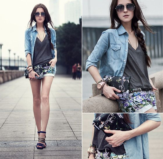Bcbg Heels, Zara Shorts, Snupped Case, H&M Shirt, Mango Glasses