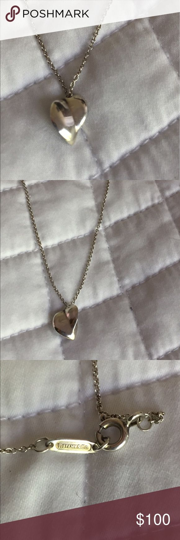 """Tiffany & Co. Heart Necklace Beautiful and classic silver Tiffany necklace. Heart shape floats on a thin 16"""" chain. Does not come with Tiffany box/bag. Tiffany & Co. Jewelry Necklaces"""