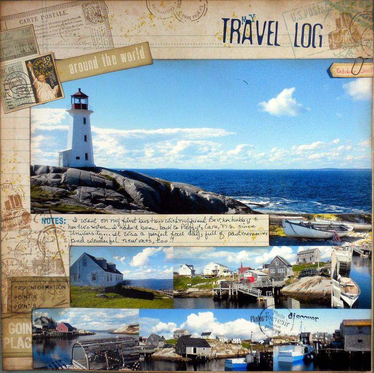 My Travel Log... - Scrapbook.com  Like words, journal and layout. Maybe for a cruise?