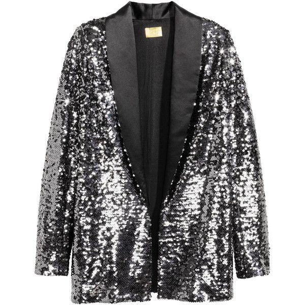 Sequined Jacket $79.99 ($80) ❤ liked on Polyvore featuring outerwear, jackets, fleece-lined jackets, straight jacket, mesh lined jacket, lapel jacket and mesh jacket