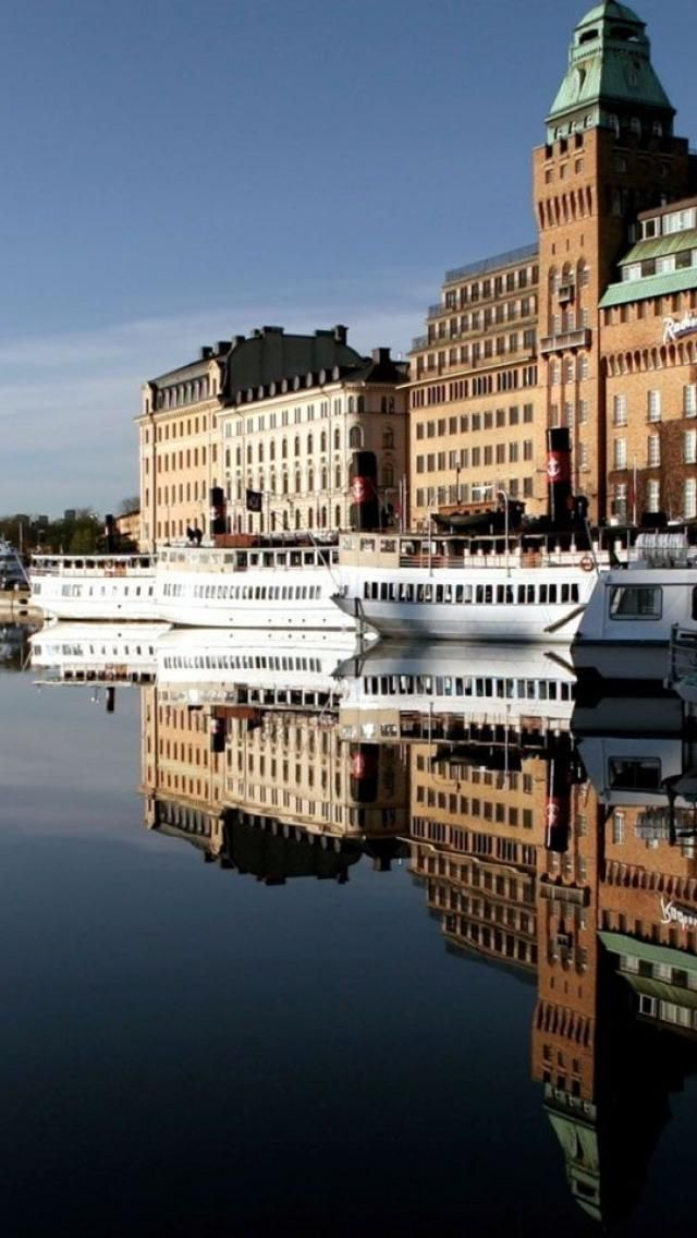 Cruise boats at Stockholm, Sweden | #reflections | #reflection