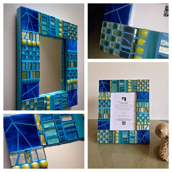 OOAK Peridot Teal Mosaic Mirror or Mosaic  Picture frame wall decor home decoration 5x7 Photo Frame Handcrafted Mosaic Art Border  on Etsy, $175.00
