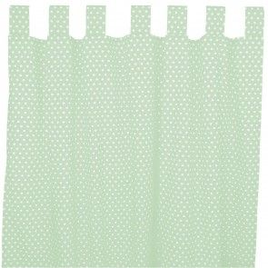 Vorhang/Gardine mit Schlaufen oder Kräuselband mint Pünktchen weiß