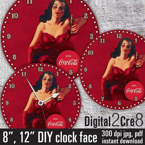 "Coca Cola Clock Face - 12"" and 8"" Digital Downloads - DIY - Printable Image - Iron On Transfer - Wall Decor - Crafts - jpg+pdf"