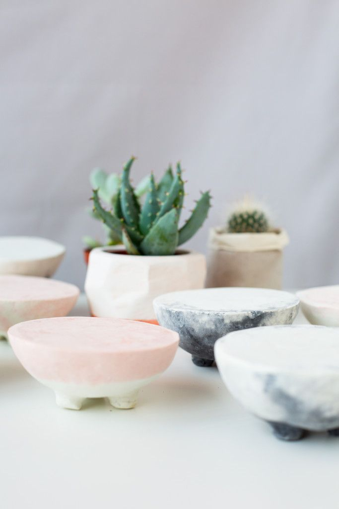 DIY Marbled Concrete Planter Stands for all your Succulents