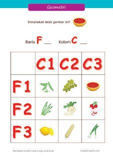 belajar anak kelas 1 SD, geometri dasar, koordinat & tata letak