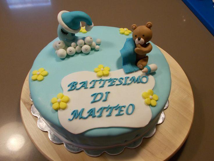 Torta battesimo orsetto - luna