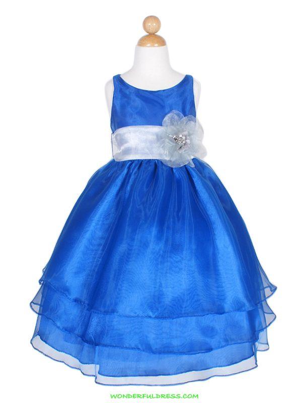 Royal Blue Colorful Organza Flower Girl Dress