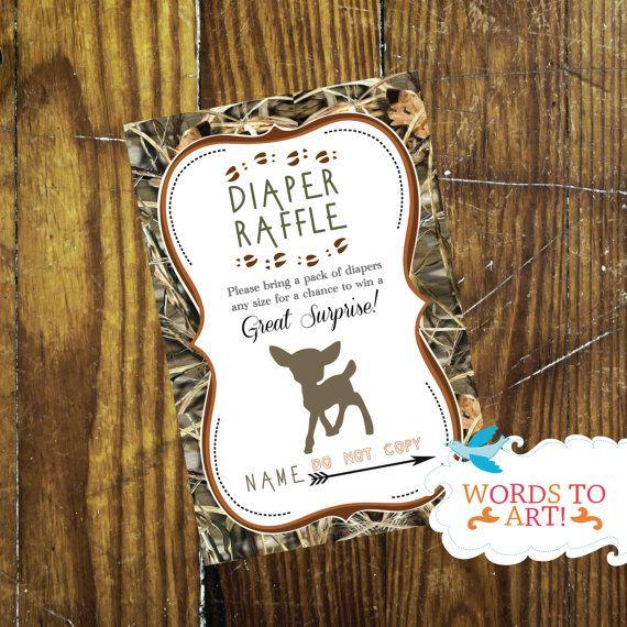 Matching Deer Camouflage Baby Shower Diaper Raffle by WordsToArt