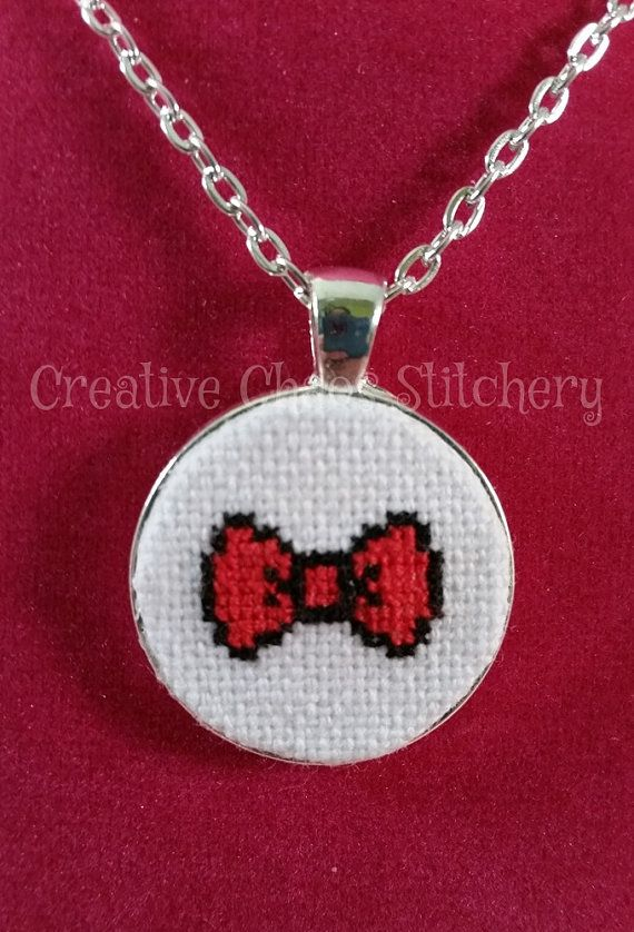 Cross Stitch Necklace  TV Show  Bowtie by chaoticstitchery on Etsy