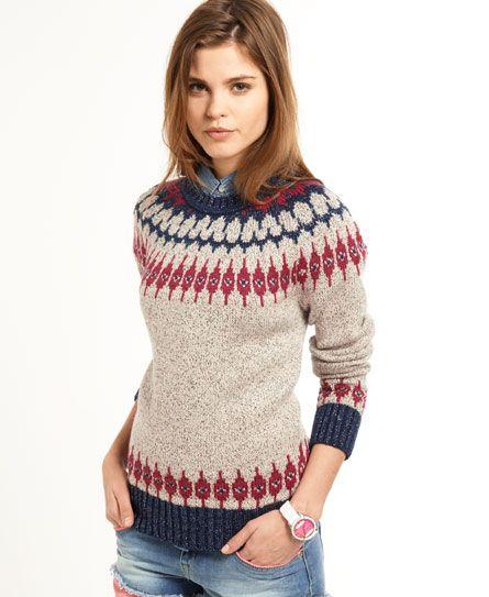 Superdry Peak Fairisle sweater met ronde hals - Knitwear voor Dames