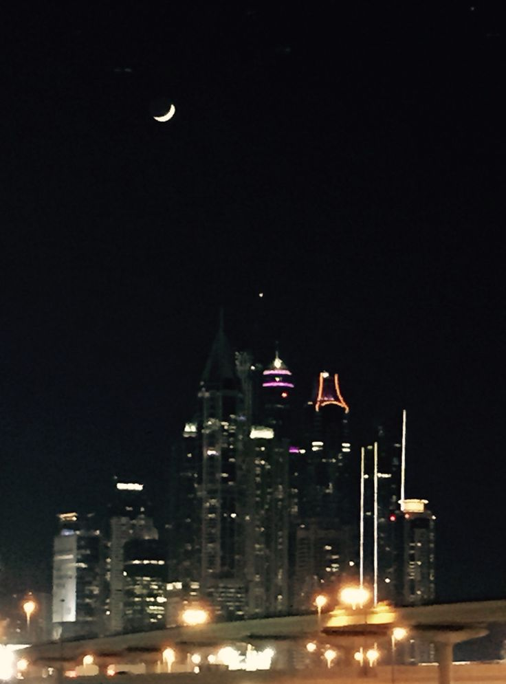 Marina and the moon #Dubai #UAE