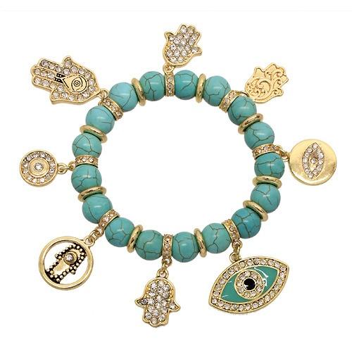 Swarovski Studded Hamsa Hand & Evil Eye Bracelet - Turquoise                                                $42.00