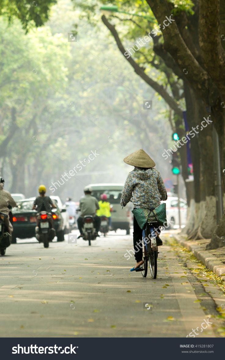 Hanoi, Vietnam, May 11, 2016: Early Morningin Hanoi Old Quarter. Typical Street…