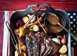 Slow-Roasted Beer and Black Pepper Beef with Root Veg and Pan Gravy.