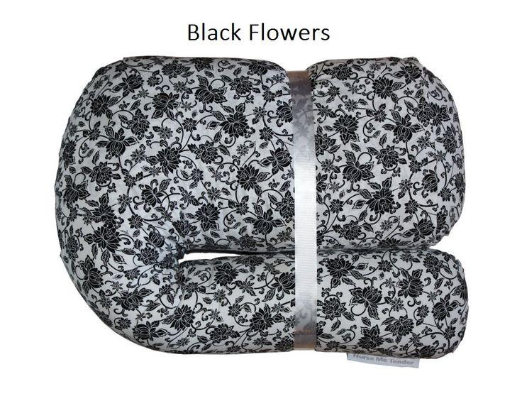 L7 Nursing & Pregnancy Pillow - Nurse Me Tender - Black Flowers by NurseMeTender on Etsy