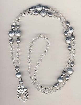 Silvery Grey Crystal Beaded Lanyard Badge ID Holder | eBay