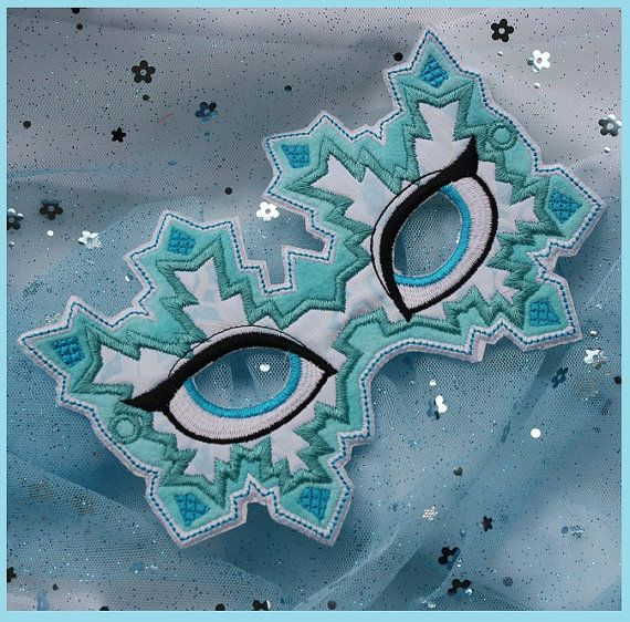 Snow Queen Mask In The Hoop Embroidery Applique Design 2 sizes for hoops 5x7 or larger INSTANT Download