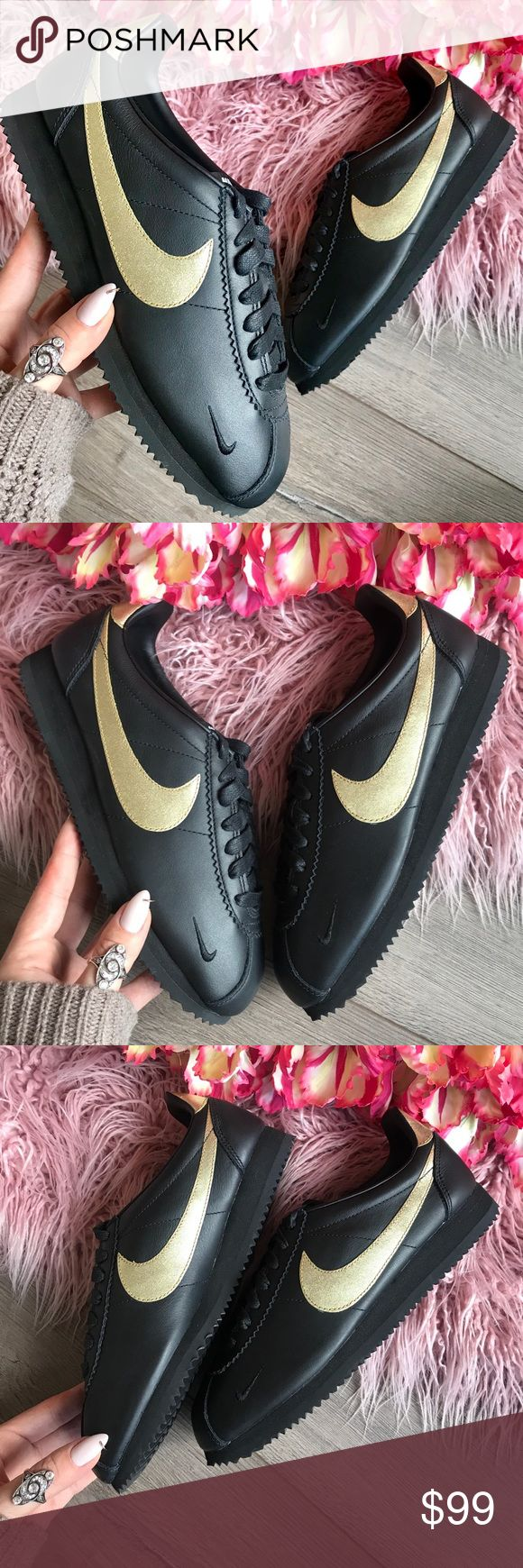 NWT Nike ID leather Cortez black on black gold Brand new no box. Custom made Nike ID. Price is firm!The Nike Classic Cortez Women's Shoe is Nike's original running shoe, designed by Bill Bowerman and released in 1972. This version features a leather and synthetic leather construction for added durability.  Benefits Leather and synthetic leather upper for durability Foam sole for lightweight cushioning Rubber outsole with herringbone pattern for traction Nike Shoes