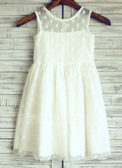 [AU$ 77.00] A-Line/Princess Knee-length Flower Girl Dress - Tulle Sleeveless Scoop Neck (010105758)