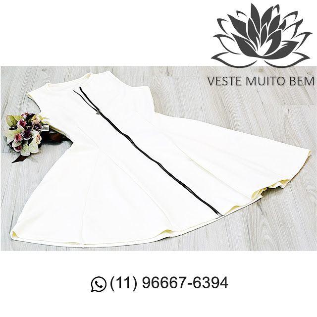 Vestido Godê com Ziper R$ 9900 #vestemuitobem #moda #modafeminina #modaparameninas #estilo #roupas #lookdodia #roupasfemininas #tendência #beleza #bonita #gata #linda #elegant #elegance #jardimavelino