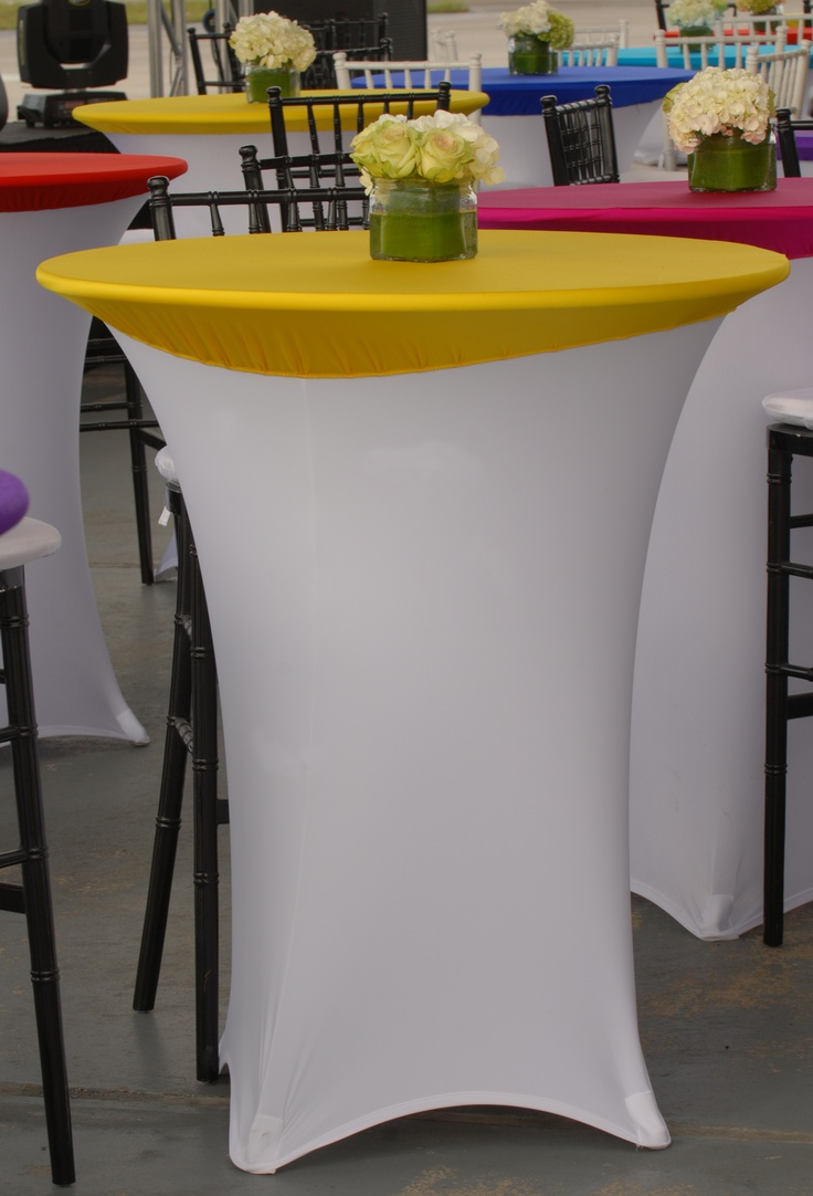 Beautiful White Spandex Highboy Table Cover With Yellow Spandex Table  Topper From Premier Table Linens #